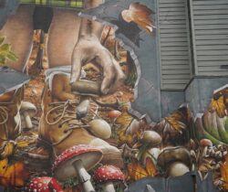 Mural in Glasgow person picking Mushrooms